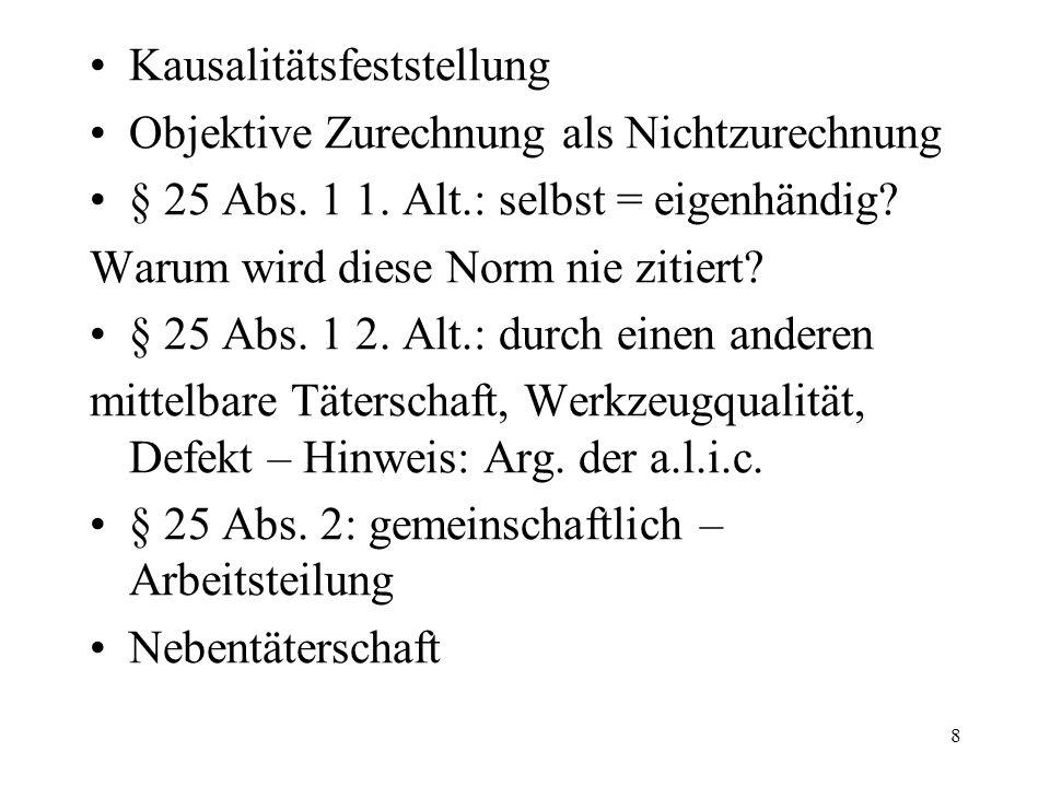 Kausalitätsfeststellung Objektive Zurechnung als Nichtzurechnung § 25 Abs.