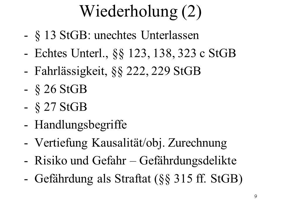 Wiederholung (2) -§ 13 StGB: unechtes Unterlassen -Echtes Unterl., §§ 123, 138, 323 c StGB -Fahrlässigkeit, §§ 222, 229 StGB -§ 26 StGB -§ 27 StGB -Handlungsbegriffe -Vertiefung Kausalität/obj.