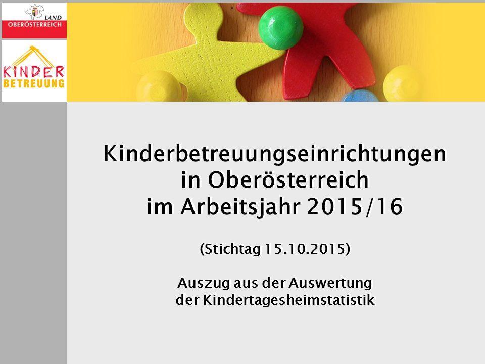 Kinderbetreuungseinrichtungen in Oberösterreich im Arbeitsjahr 2015/16 (Stichtag 15.10.2015) Auszug aus der Auswertung der Kindertagesheimstatistik