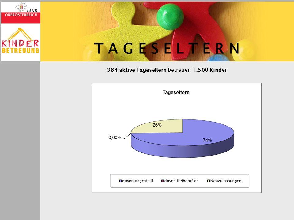 T A G E S E L T E R N 384 aktive Tageseltern betreuen 1.500 Kinder