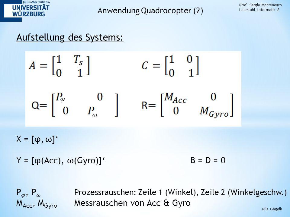 Prof. Sergio Montenegro Lehrstuhl Informatik 8 Anwendung Quadrocopter (2) Aufstellung des Systems: Nils Gageik