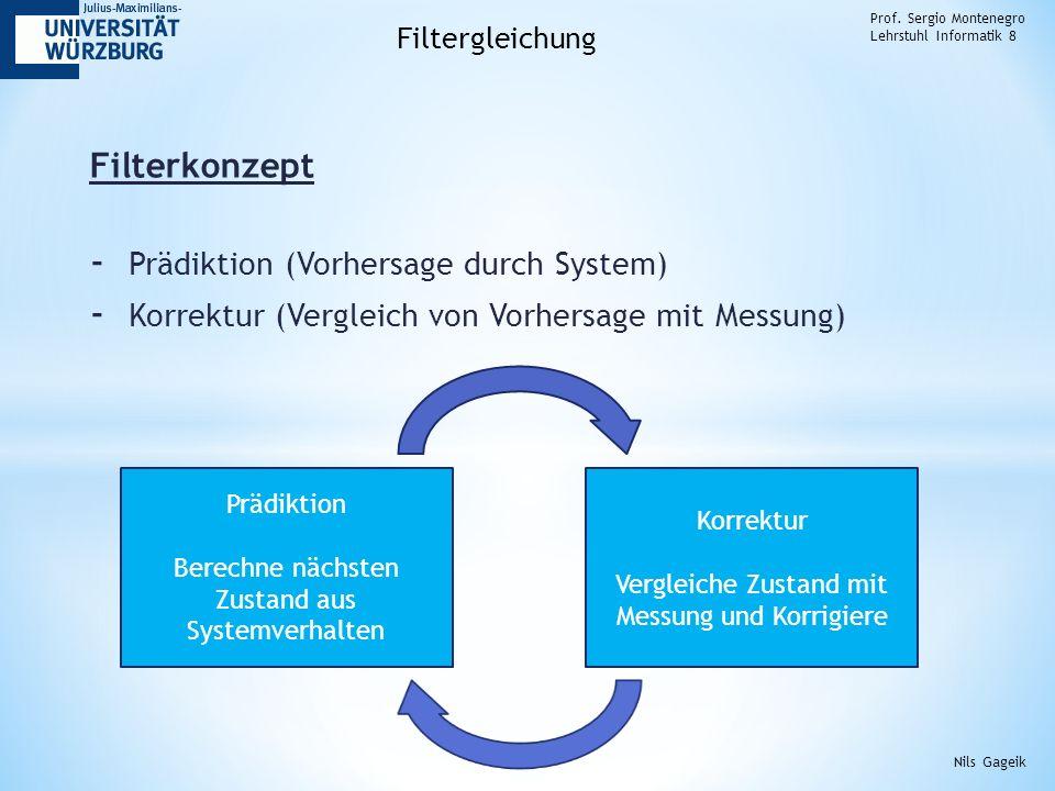 Filterkonzept - Prädiktion (Vorhersage durch System) - Korrektur (Vergleich von Vorhersage mit Messung) Prof. Sergio Montenegro Lehrstuhl Informatik 8