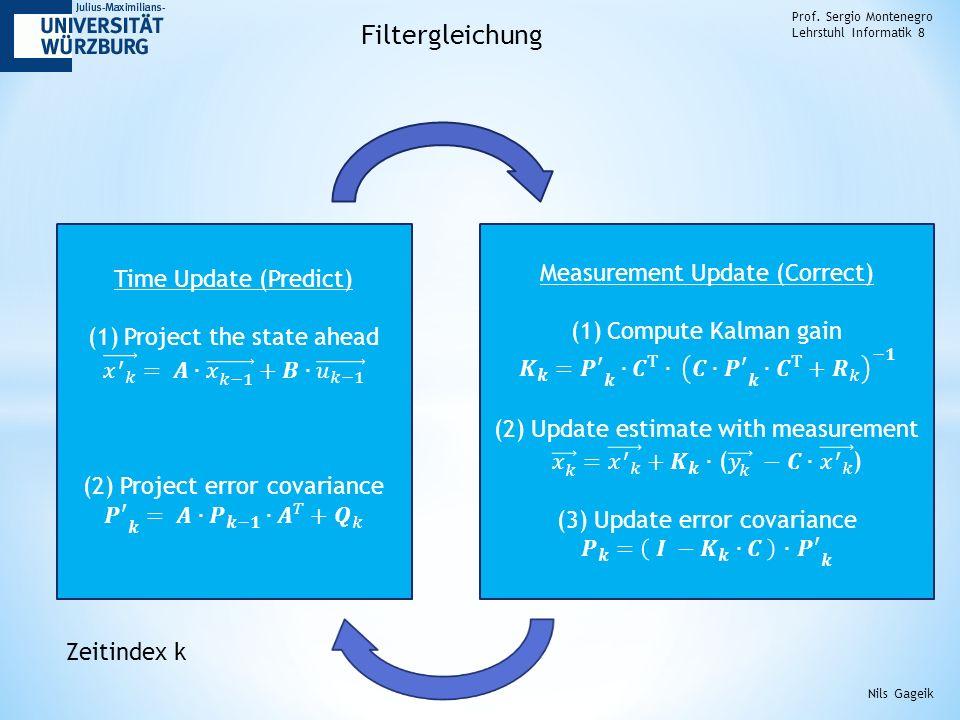 Prof. Sergio Montenegro Lehrstuhl Informatik 8 Filtergleichung Nils Gageik Zeitindex k