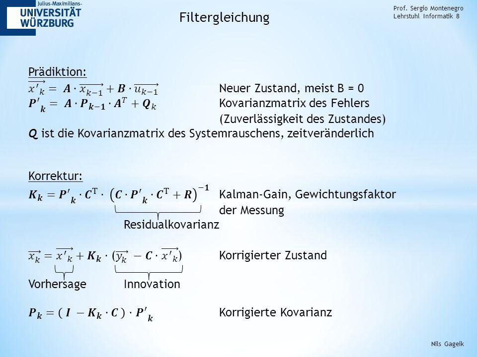 Prof. Sergio Montenegro Lehrstuhl Informatik 8 Filtergleichung Nils Gageik