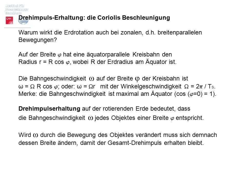 Drehimpuls-Erhaltung: die Coriolis Beschleunigung Warum wirkt die Erdrotation auch bei zonalen, d.h. breitenparallelen Bewegungen? Auf der Breite  ha