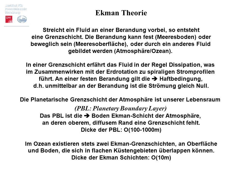 Ekman Theorie Streicht ein Fluid an einer Berandung vorbei, so entsteht eine Grenzschicht. Die Berandung kann fest (Meeresboden) oder beweglich sein (