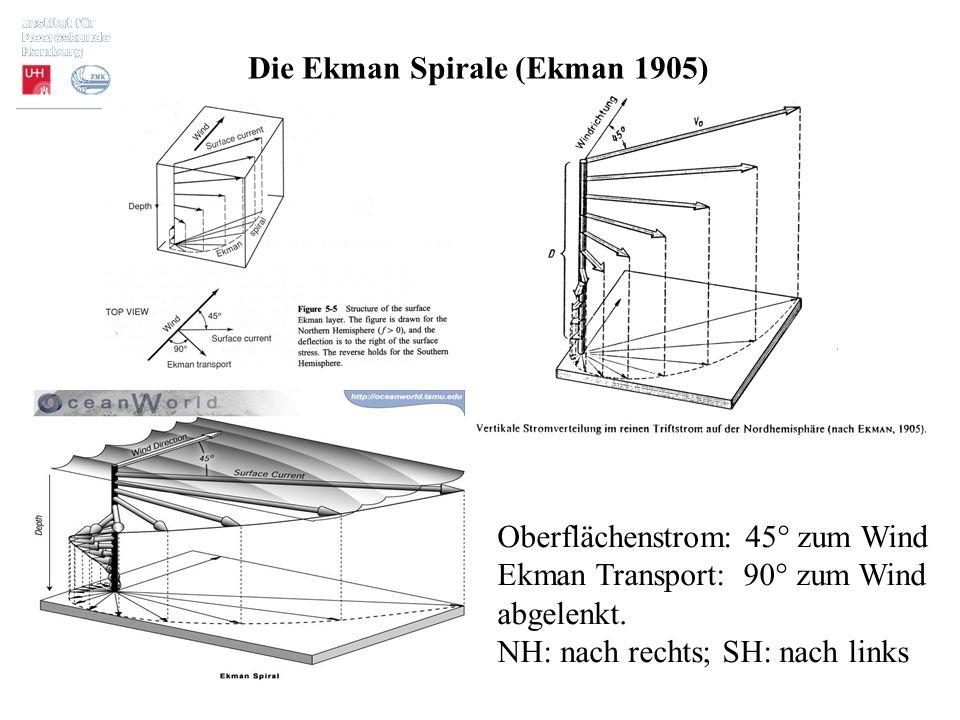 Die Ekman Spirale (Ekman 1905) Oberflächenstrom: 45° zum Wind Ekman Transport: 90° zum Wind abgelenkt. NH: nach rechts; SH: nach links