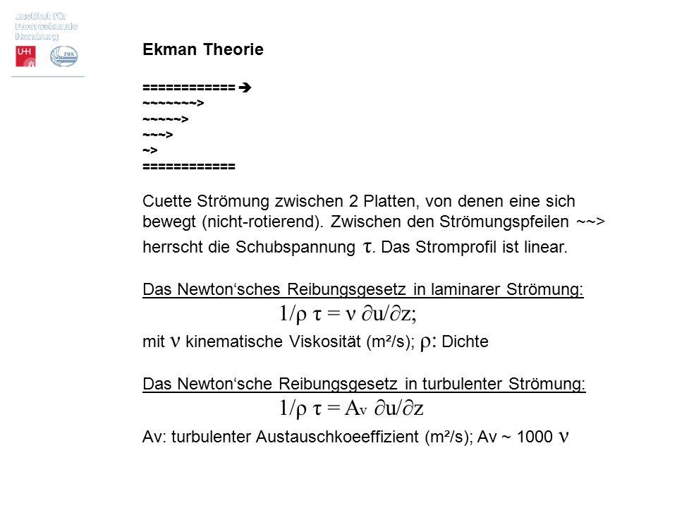 Ekman Theorie ============  ~~~~~~~> ~~~~~> ~~~> ~> ============ Cuette Strömung zwischen 2 Platten, von denen eine sich bewegt (nicht-rotierend). Zw
