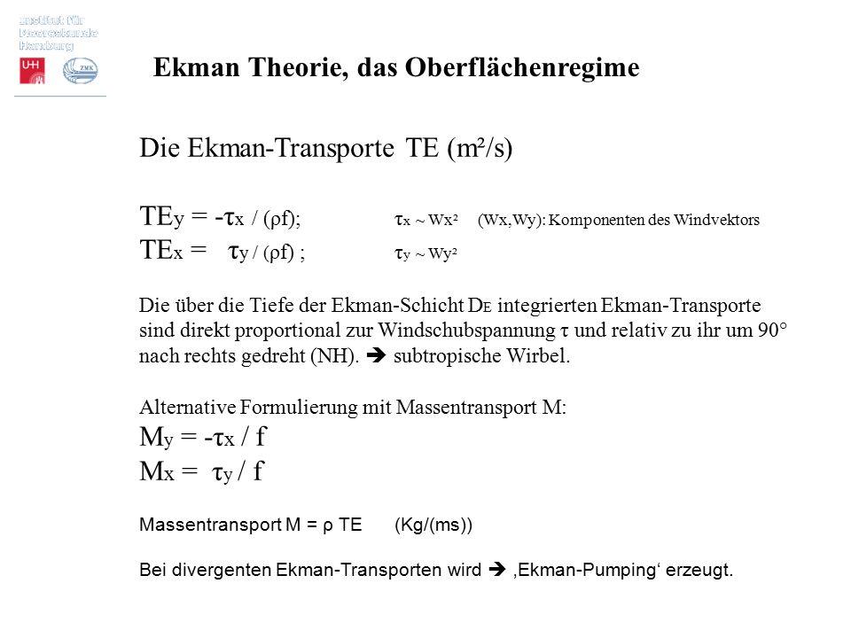 Die Ekman-Transporte TE (m²/s) TE y = -τ x / (ρf); τ x ~ Wx² (Wx,Wy): Komponenten des Windvektors TE x = τ y / ( ρf) ; τ y ~ Wy² Die über die Tiefe de