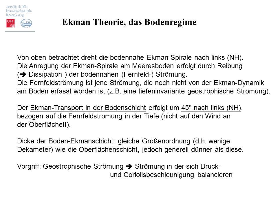 Ekman Theorie, das Bodenregime Von oben betrachtet dreht die bodennahe Ekman-Spirale nach links (NH). Die Anregung der Ekman-Spirale am Meeresboden er