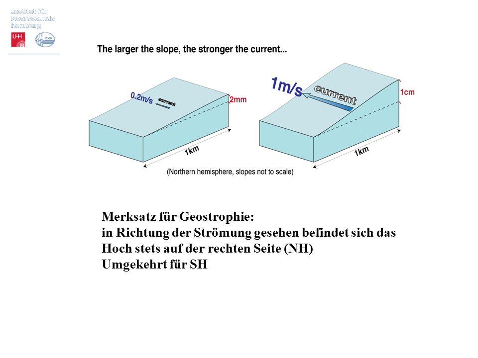 Merksatz für Geostrophie: in Richtung der Strömung gesehen befindet sich das Hoch stets auf der rechten Seite (NH) Umgekehrt für SH