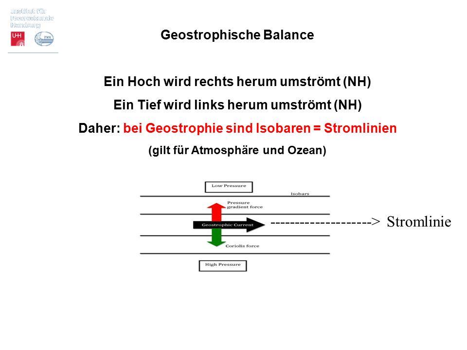 Geostrophische Balance Ein Hoch wird rechts herum umströmt (NH) Ein Tief wird links herum umströmt (NH) Daher: bei Geostrophie sind Isobaren = Stromli