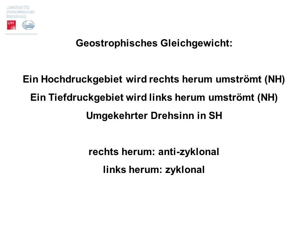 Geostrophisches Gleichgewicht: Ein Hochdruckgebiet wird rechts herum umströmt (NH) Ein Tiefdruckgebiet wird links herum umströmt (NH) Umgekehrter Dreh