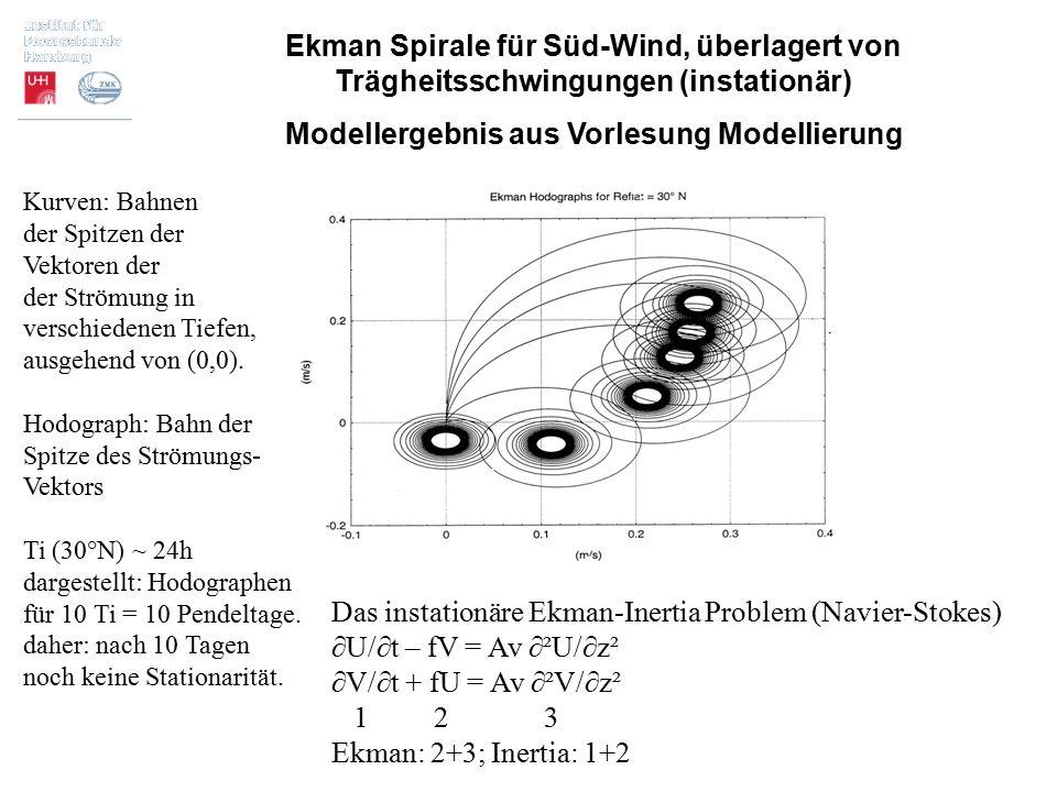 Ekman Spirale für Süd-Wind, überlagert von Trägheitsschwingungen (instationär) Modellergebnis aus Vorlesung Modellierung Das instationäre Ekman-Inerti