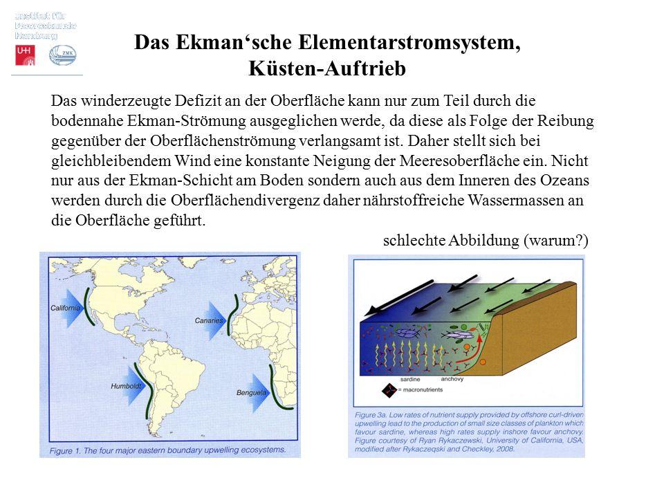Das Ekman'sche Elementarstromsystem, Küsten-Auftrieb Das winderzeugte Defizit an der Oberfläche kann nur zum Teil durch die bodennahe Ekman-Strömung a