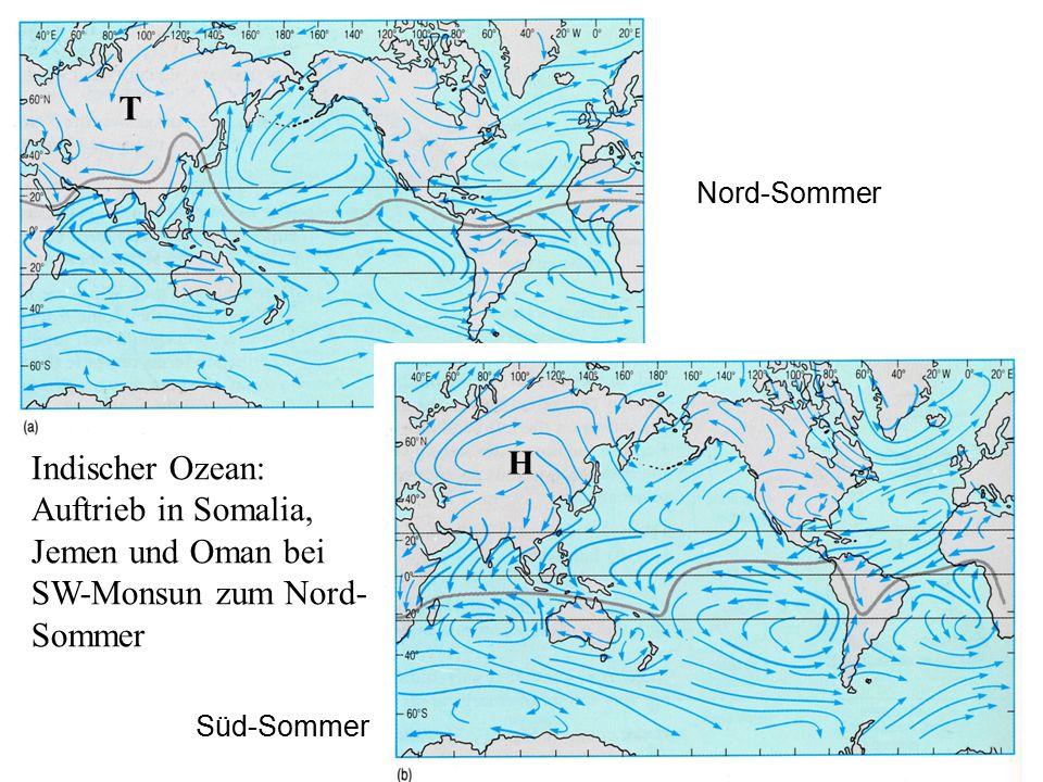 H T Nord-Sommer Süd-Sommer Indischer Ozean: Auftrieb in Somalia, Jemen und Oman bei SW-Monsun zum Nord- Sommer