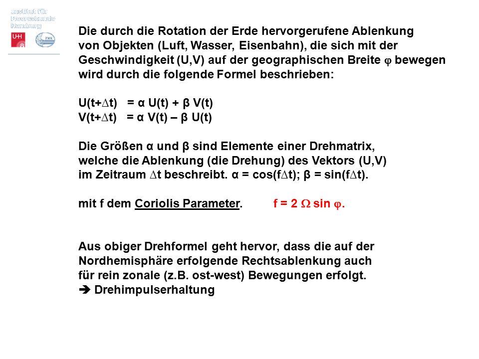 Ekman Spirale für Süd-Wind, überlagert von Trägheitsschwingungen (instationär) Modellergebnis aus Vorlesung Modellierung Das instationäre Ekman-Inertia Problem (Navier-Stokes) ∂U/∂t – fV = Av ∂²U/∂z² ∂V/∂t + fU = Av ∂²V/∂z² 1 2 3 Ekman: 2+3; Inertia: 1+2 Kurven: Bahnen der Spitzen der Vektoren der der Strömung in verschiedenen Tiefen, ausgehend von (0,0).