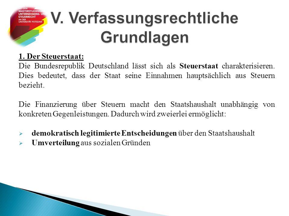 1. Der Steuerstaat: Die Bundesrepublik Deutschland lässt sich als Steuerstaat charakterisieren. Dies bedeutet, dass der Staat seine Einnahmen hauptsäc