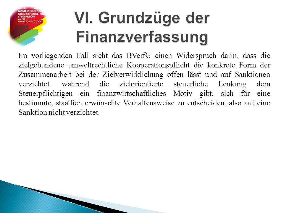 Im vorliegenden Fall sieht das BVerfG einen Widerspruch darin, dass die zielgebundene umweltrechtliche Kooperationspflicht die konkrete Form der Zusam