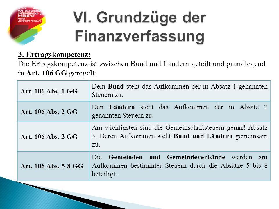 3. Ertragskompetenz: Die Ertragskompetenz ist zwischen Bund und Ländern geteilt und grundlegend in Art. 106 GG geregelt: Art. 106 Abs. 1 GG Dem Bund s