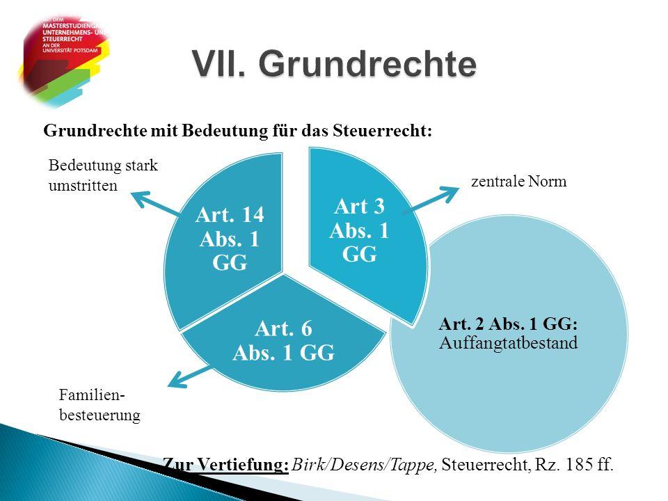 Art. 2 Abs. 1 GG: Auffangtatbestand Grundrechte mit Bedeutung für das Steuerrecht: Zur Vertiefung: Birk/Desens/Tappe, Steuerrecht, Rz. 185 ff. Art 3 A