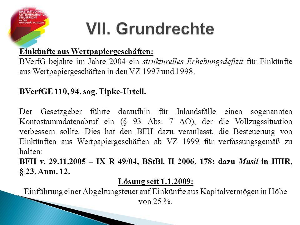 Einkünfte aus Wertpapiergeschäften: BVerfG bejahte im Jahre 2004 ein strukturelles Erhebungsdefizit für Einkünfte aus Wertpapiergeschäften in den VZ 1