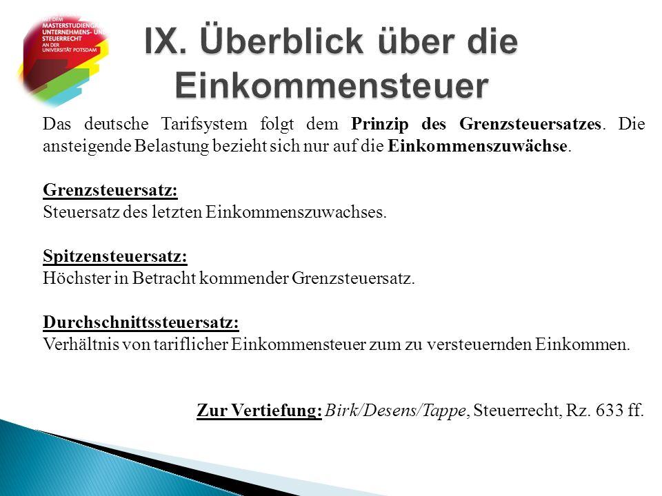 Das deutsche Tarifsystem folgt dem Prinzip des Grenzsteuersatzes. Die ansteigende Belastung bezieht sich nur auf die Einkommenszuwächse. Grenzsteuersa