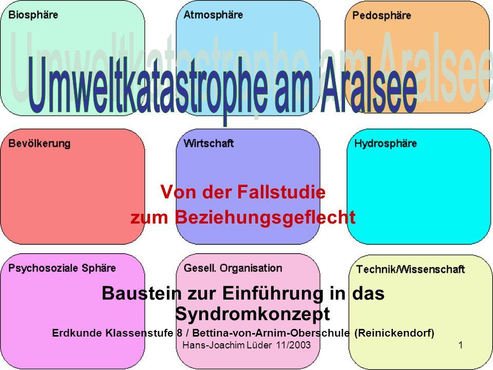 Hans-Joachim Lüder 11/20031 Von der Fallstudie zum Beziehungsgeflecht Baustein zur Einführung in das Syndromkonzept Erdkunde Klassenstufe 8 / Bettina-