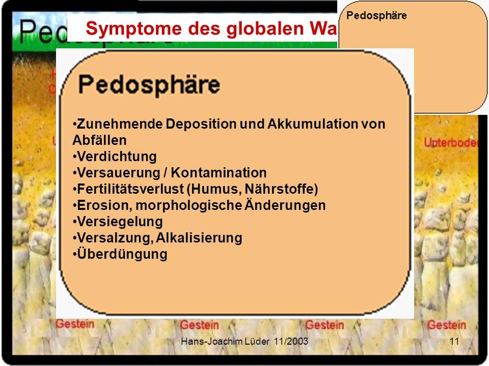 Hans-Joachim Lüder 11/200311 Symptome des globalen Wandels Zunehmende Deposition und Akkumulation von Abfällen Verdichtung Versauerung / Kontamination