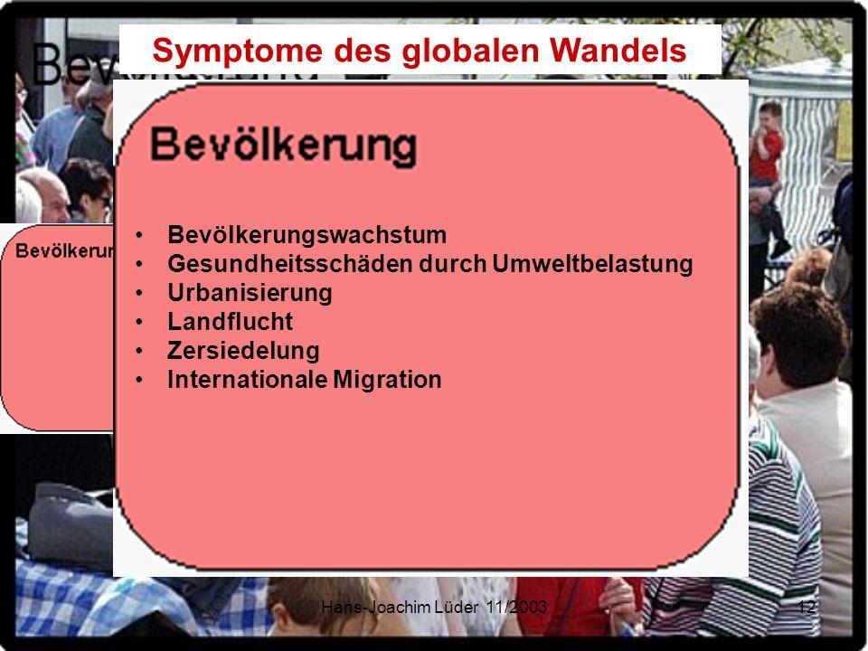 Hans-Joachim Lüder 11/200312 Symptome des globalen Wandels Bevölkerungswachstum Gesundheitsschäden durch Umweltbelastung Urbanisierung Landflucht Zers