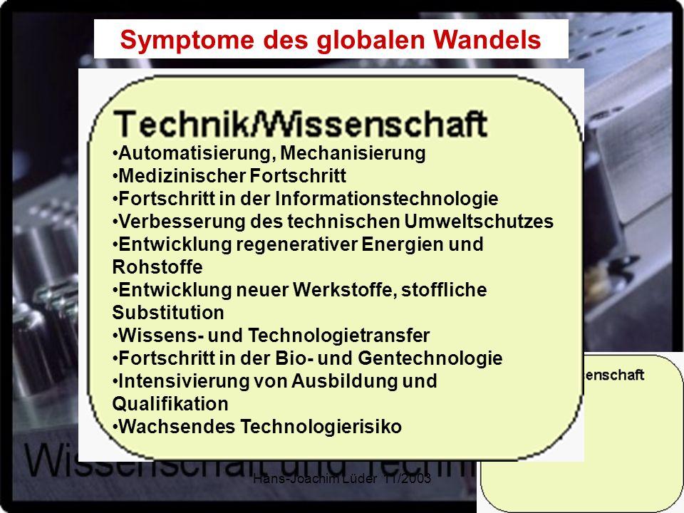 Hans-Joachim Lüder 11/200315 Symptome des globalen Wandels Automatisierung, Mechanisierung Medizinischer Fortschritt Fortschritt in der Informationste