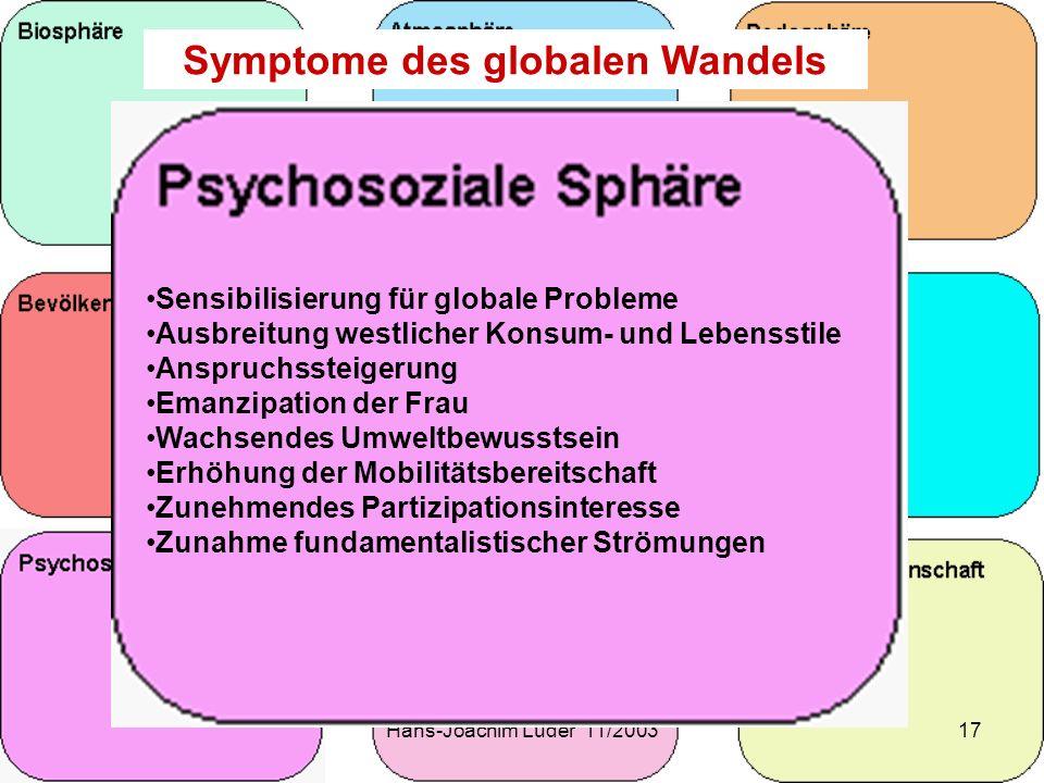 Hans-Joachim Lüder 11/200317 Symptome des globalen Wandels Sensibilisierung für globale Probleme Ausbreitung westlicher Konsum- und Lebensstile Anspru