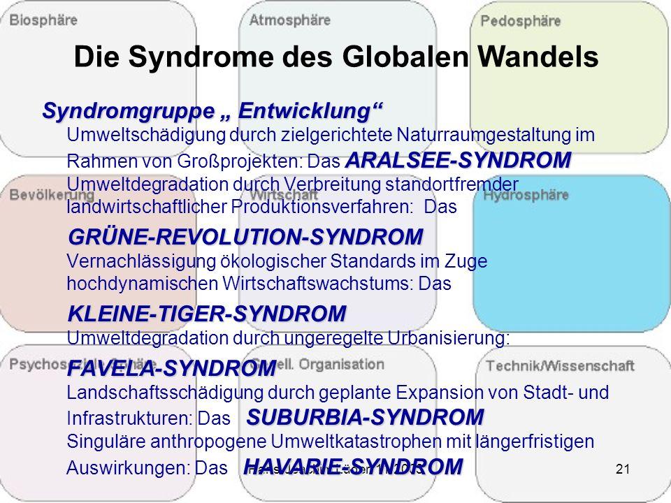 """Hans-Joachim Lüder 11/200321 Die Syndrome des Globalen Wandels Syndromgruppe """" Entwicklung"""" Umweltschädigung durch zielgerichtete Naturraumgestaltung"""