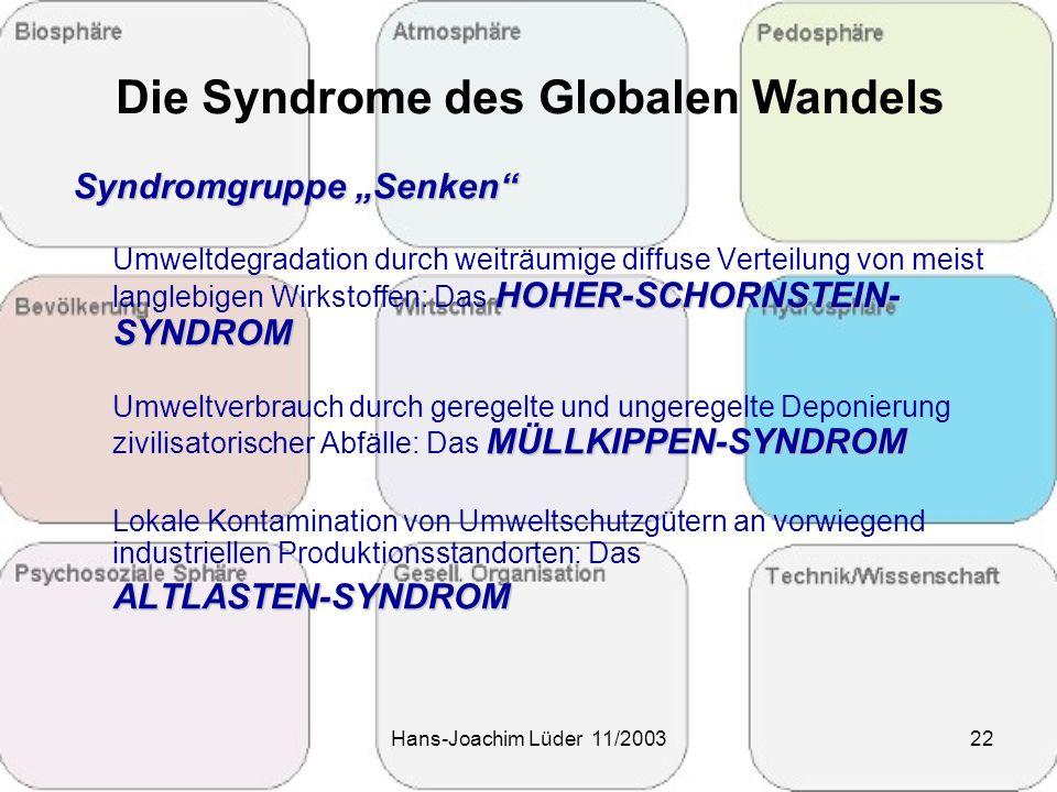 """Hans-Joachim Lüder 11/200322 Die Syndrome des Globalen Wandels Syndromgruppe """"Senken"""" Umweltdegradation durch weiträumige diffuse Verteilung von meist"""