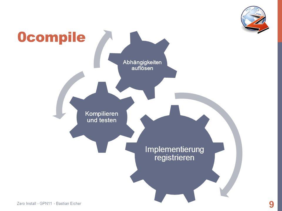0compile Implementierung registrieren Kompilieren und testen Abhängigkeiten auflösen Zero Install - GPN11 - Bastian Eicher 9