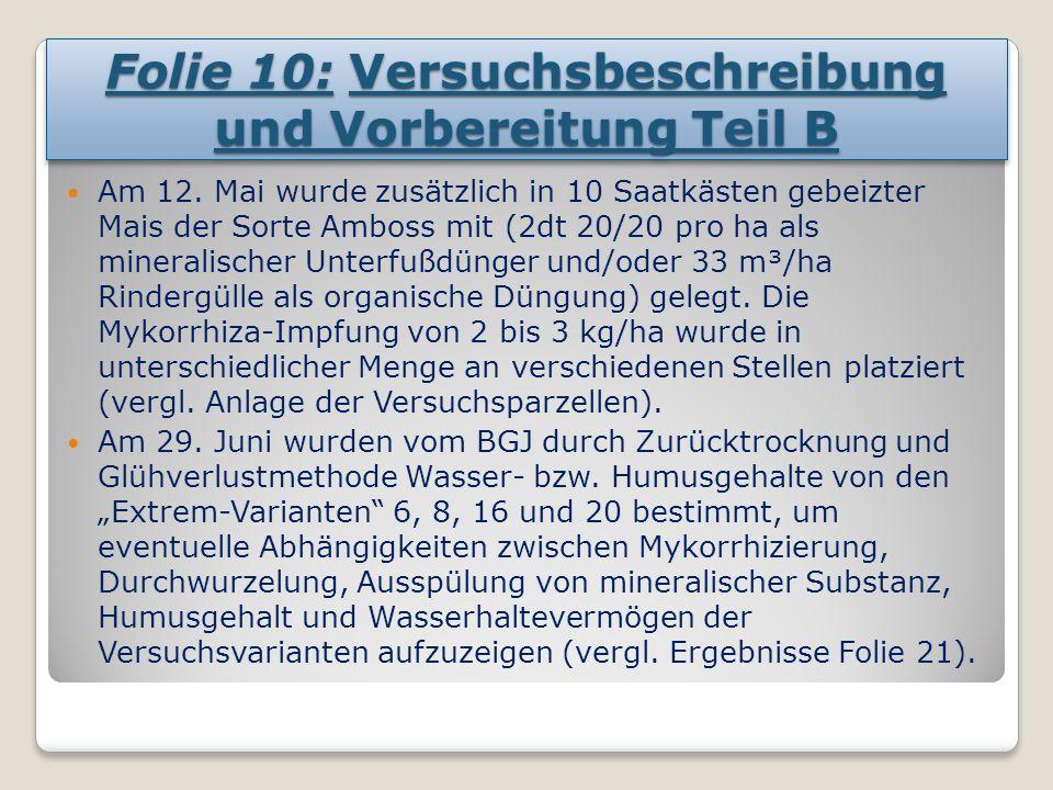 Folie 10: Versuchsbeschreibung und Vorbereitung Teil B Am 12.