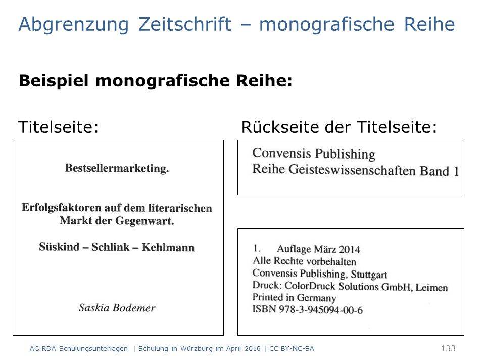 Beispiel monografische Reihe: Titelseite: Rückseite der Titelseite: 133 AG RDA Schulungsunterlagen | Schulung in Würzburg im April 2016 | CC BY-NC-SA
