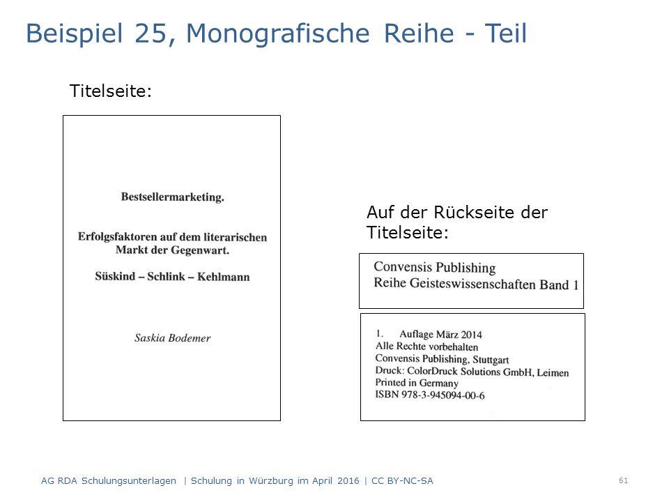 Beispiel 25, Monografische Reihe - Teil Titelseite: Auf der Rückseite der Titelseite: 61 AG RDA Schulungsunterlagen | Schulung in Würzburg im April 2016 | CC BY-NC-SA