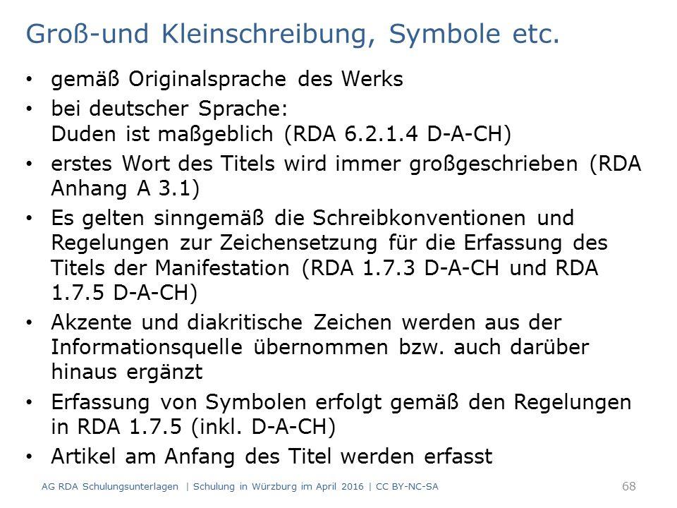 Groß-und Kleinschreibung, Symbole etc.