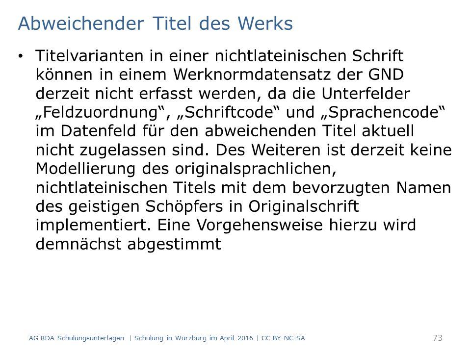 Abweichender Titel des Werks Titelvarianten in einer nichtlateinischen Schrift können in einem Werknormdatensatz der GND derzeit nicht erfasst werden,