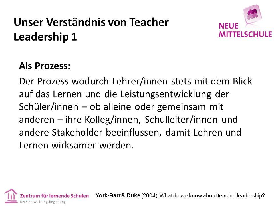 Unser Verständnis von Teacher Leadership 1 Als Prozess: Der Prozess wodurch Lehrer/innen stets mit dem Blick auf das Lernen und die Leistungsentwicklung der Schüler/innen – ob alleine oder gemeinsam mit anderen – ihre Kolleg/innen, Schulleiter/innen und andere Stakeholder beeinflussen, damit Lehren und Lernen wirksamer werden.
