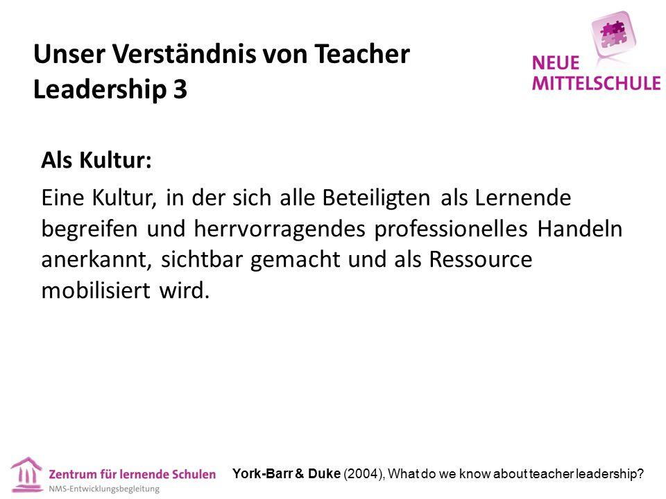 Unser Verständnis von Teacher Leadership 3 Als Kultur: Eine Kultur, in der sich alle Beteiligten als Lernende begreifen und herrvorragendes professionelles Handeln anerkannt, sichtbar gemacht und als Ressource mobilisiert wird.