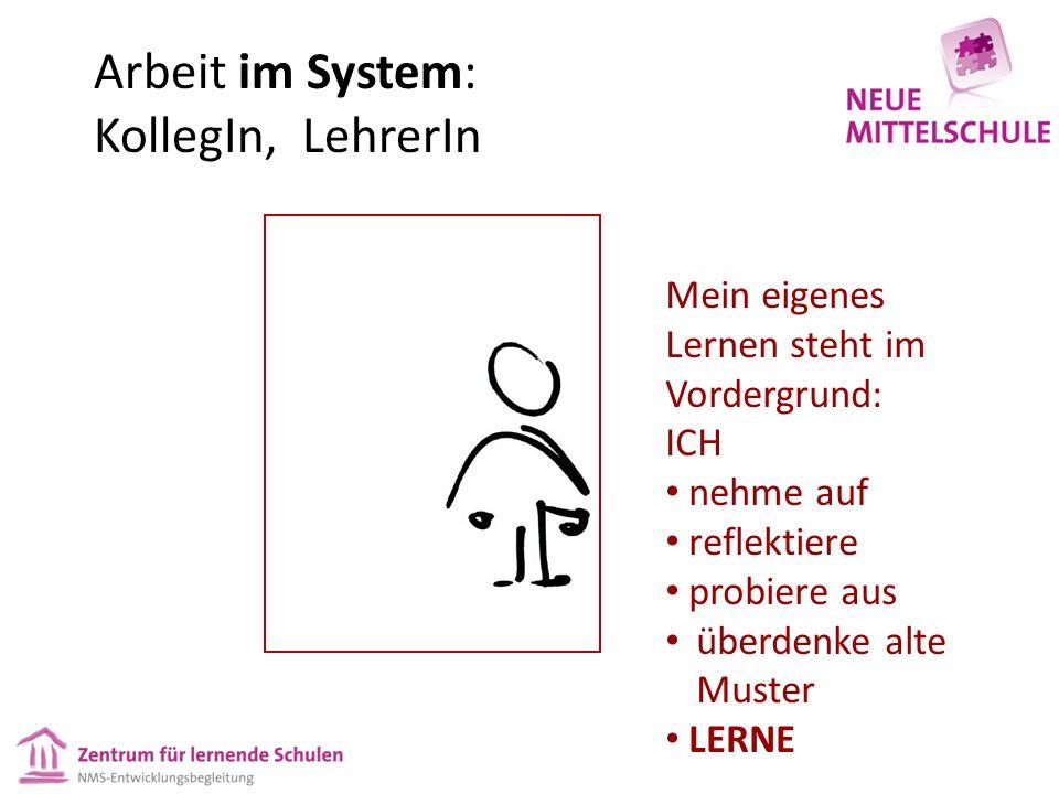 Arbeit im System: KollegIn, LehrerIn Mein eigenes Lernen steht im Vordergrund: ICH nehme auf reflektiere probiere aus überdenke alte Muster LERNE