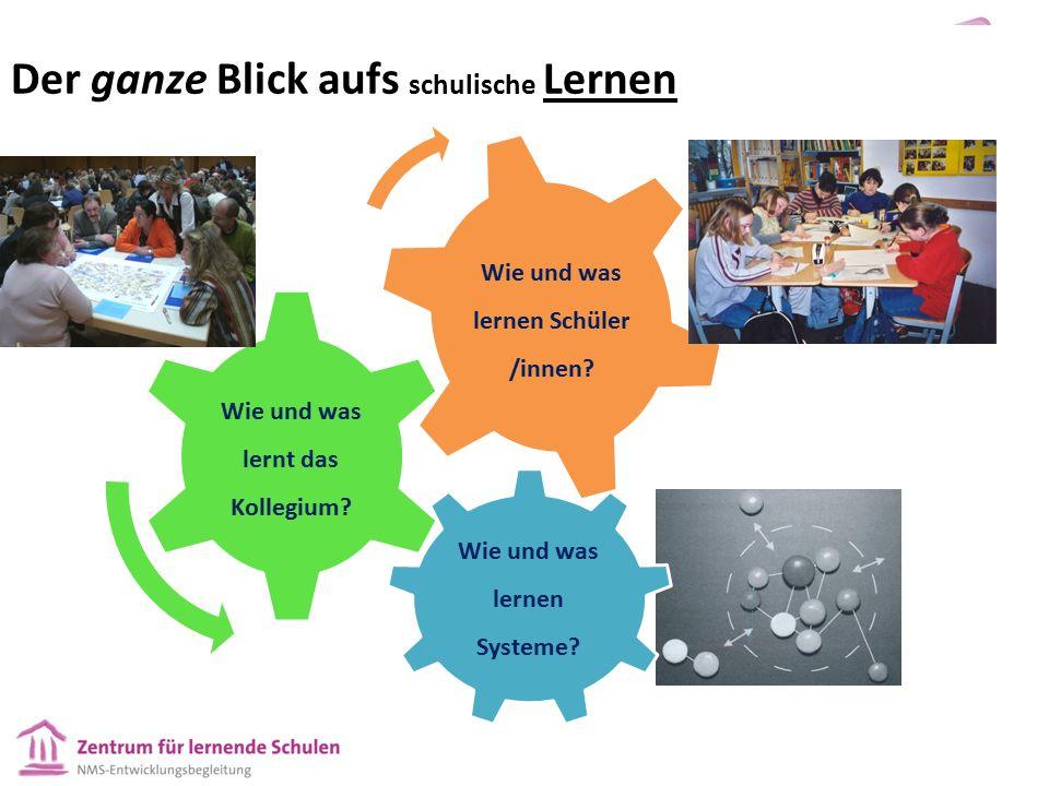 Der ganze Blick aufs schulische Lernen Wie und was lernen Systeme? Wie und was lernt das Kollegium? Wie und was lernen Schüler /innen?