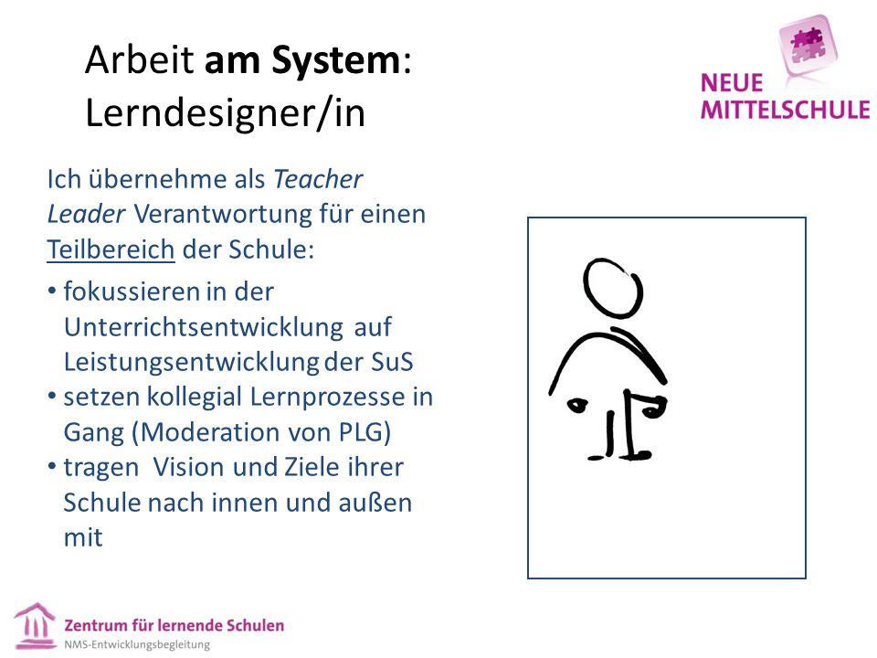 Arbeit am System: Lerndesigner/in Ich übernehme als Teacher Leader Verantwortung für einen Teilbereich der Schule: fokussieren in der Unterrichtsentwi