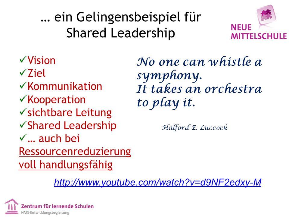 Vision Ziel Kommunikation Kooperation sichtbare Leitung Shared Leadership … auch bei Ressourcenreduzierung voll handlungsfähig No one can whistle a symphony.