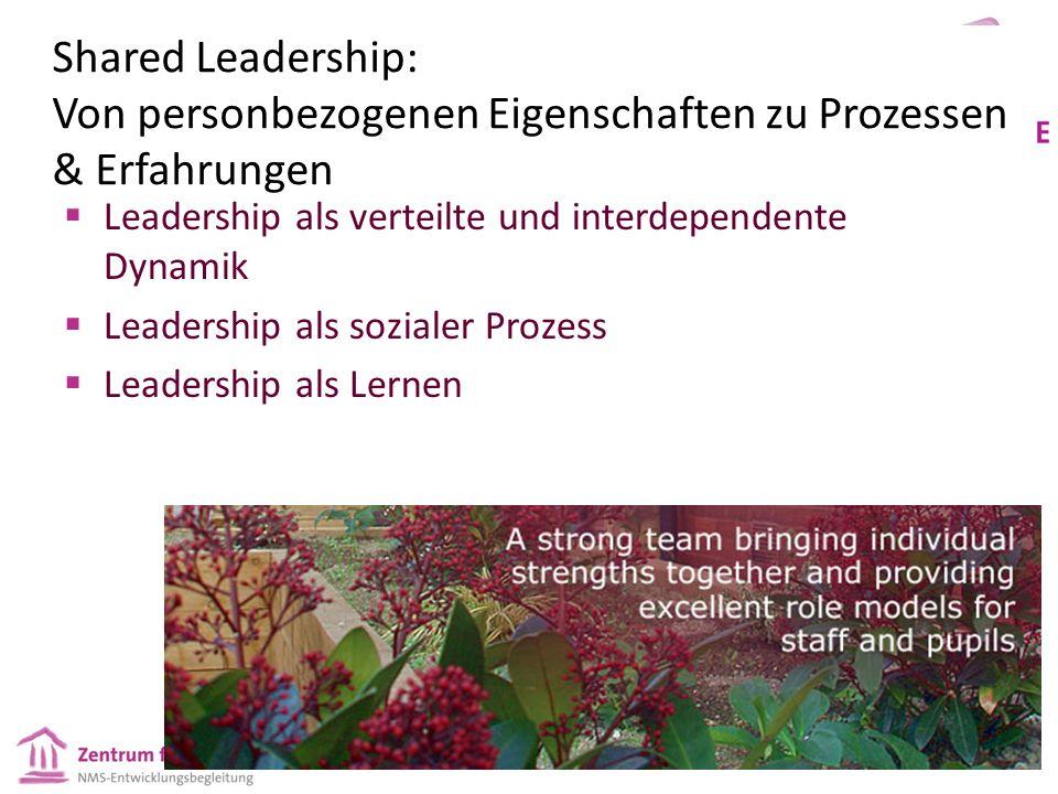 Shared Leadership: Von personbezogenen Eigenschaften zu Prozessen & Erfahrungen  Leadership als verteilte und interdependente Dynamik  Leadership al