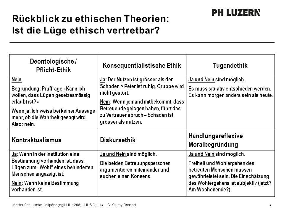 Rückblick zu ethischen Theorien: Ist die Lüge ethisch vertretbar? Master Schulische Heilpädagogik HL.1206; HHHS C; H14 – G. Sturny-Bossart4 Deontologi