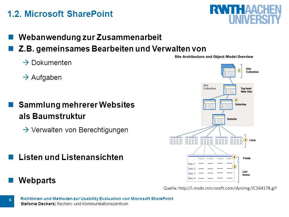 Richtlinien und Methoden zur Usability Evaluation von Microsoft SharePoint Stefanie Deckers| Rechen- und Kommunikationszentrum 6 1.2. Microsoft ShareP