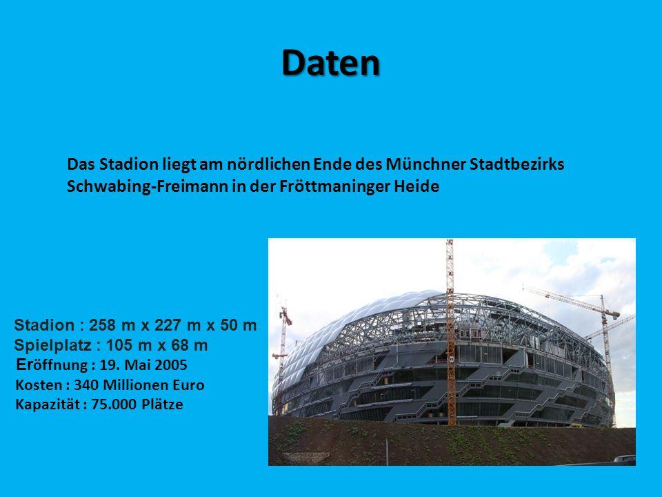 Daten Stadion : 258 m x 227 m x 50 m Spielplatz : 105 m x 68 m Er öffnung : 19. Mai 2005 Kosten : 340 Millionen Euro Kapazität : 75.000 Plätze Das Sta